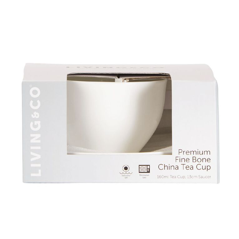 Living & Co Premium Fine Bone China Tea Cup 160ml, , hi-res