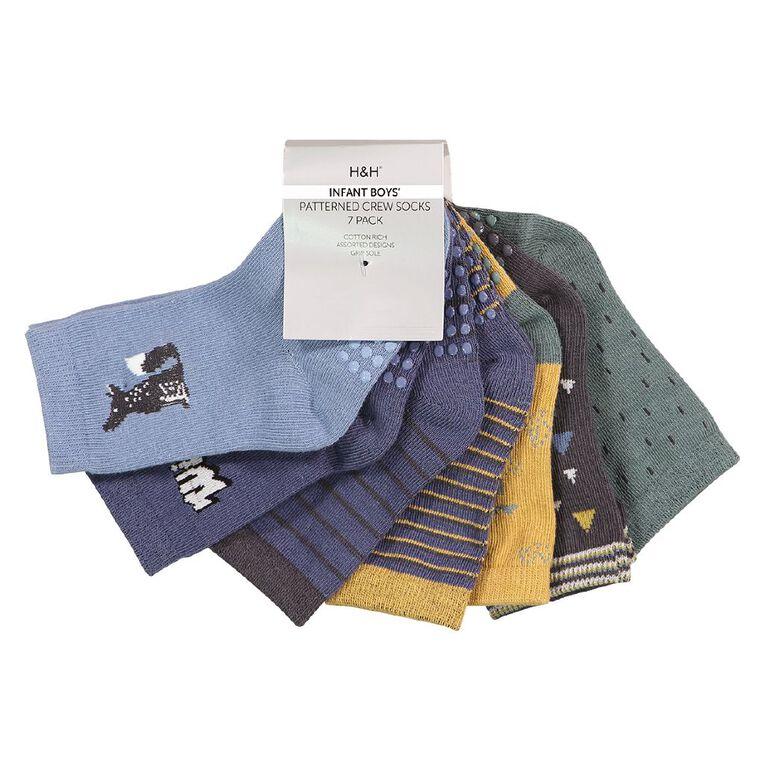 H&H Infant Boys' Jacquard Crew Socks 7 Pack, Blue Light, hi-res image number null