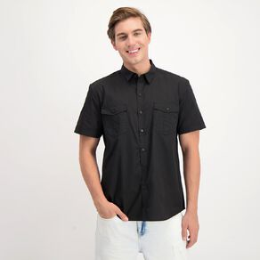 H&H Men's Short Sleeve Plain Dyed Shirt