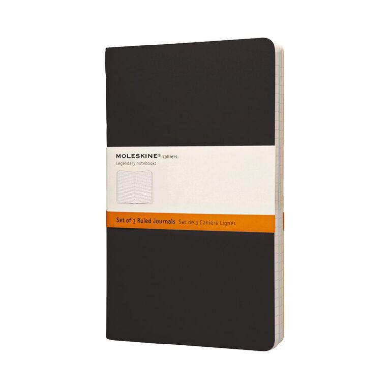 Moleskine Cahier Large Notebook Ruled 3 Pack Black, , hi-res