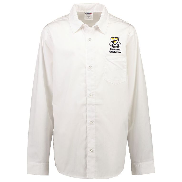 Schooltex Onewhero Area School Long Sleeve Shirt with Embroidery, White, hi-res