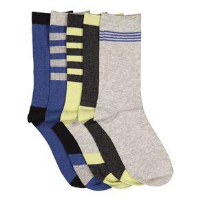 H&H Boys' Patterned Crew Socks 5 Pack