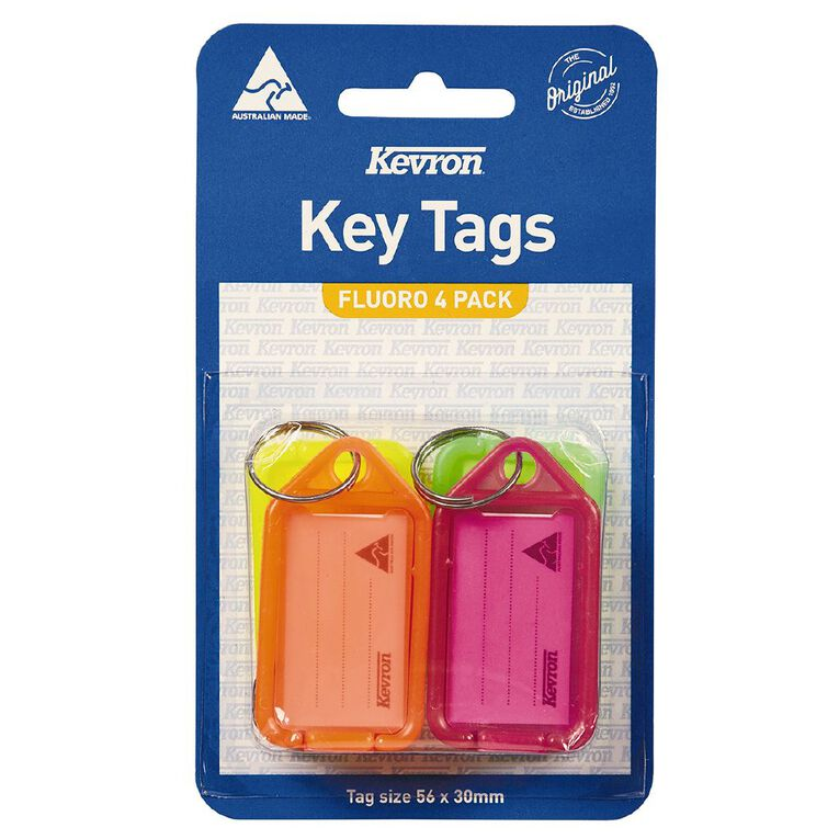 Kevron Key Tags 4 Pack Fluoro, , hi-res