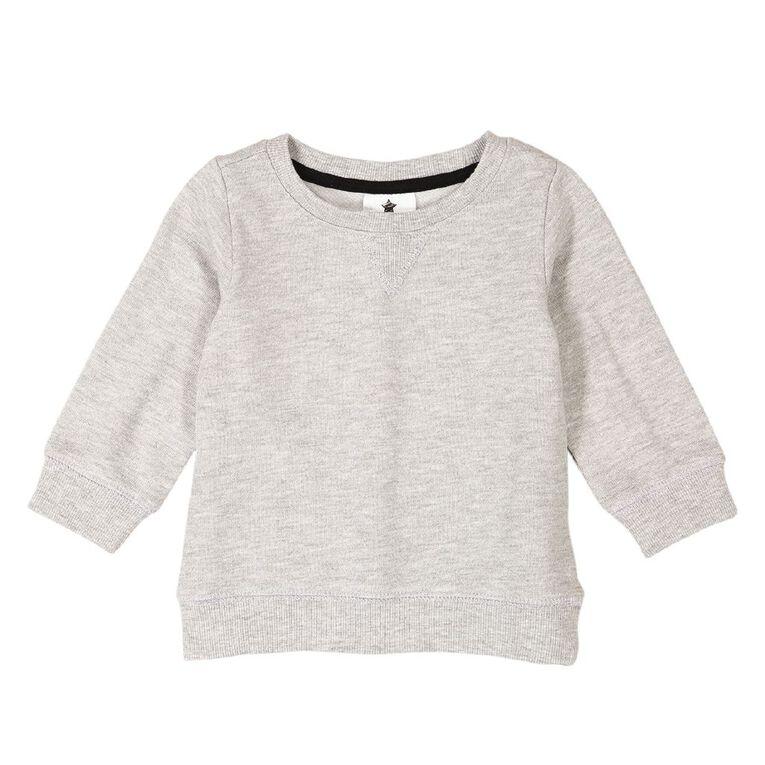 Young Original Baby Plain Patch Sweatshirt, Grey Mid GREY MARLE, hi-res