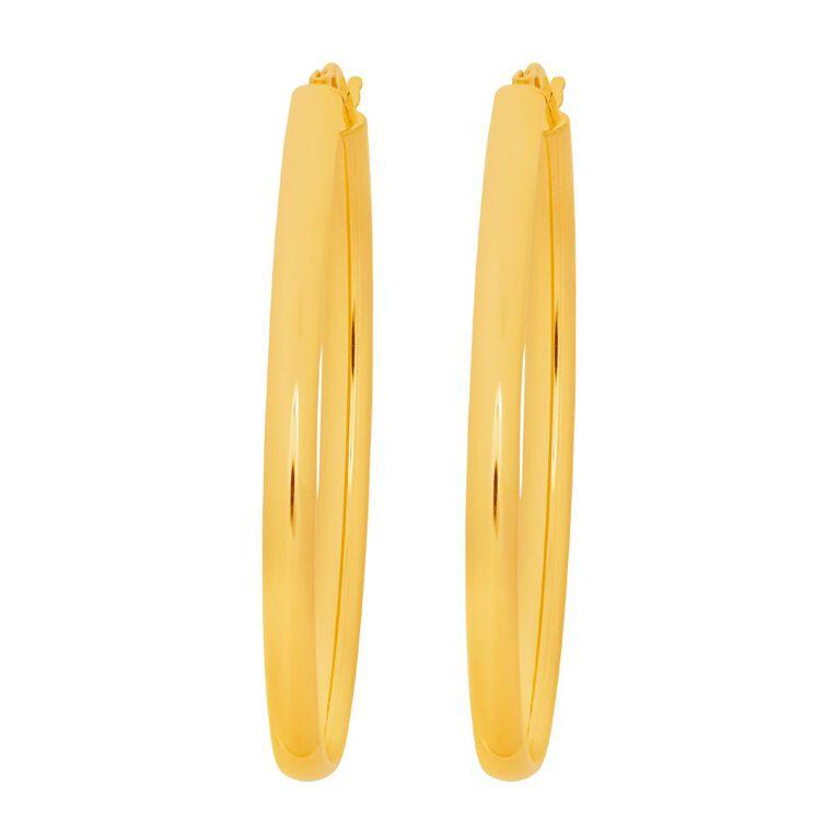 9ct Gold Oval Hoop Earrings 37mm, , hi-res