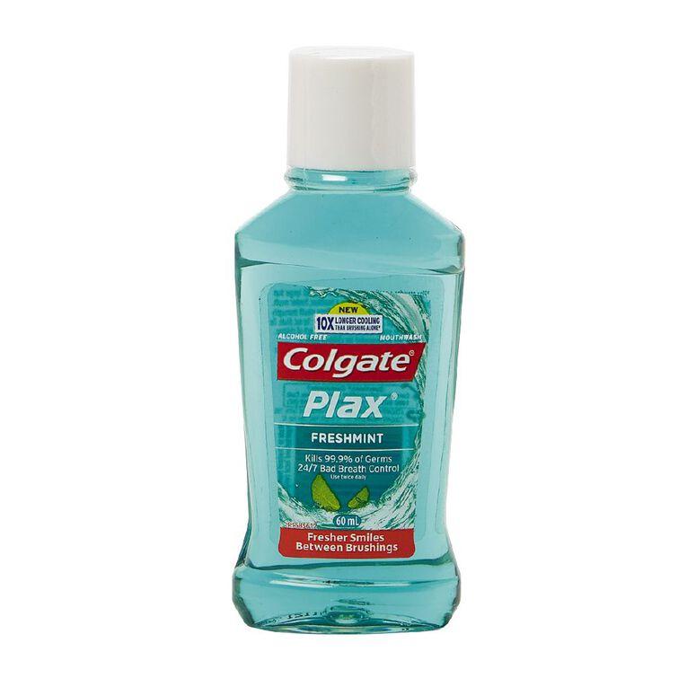 Colgate Plax Antibacterial Travel Mouthwash Freshmint 60ml, , hi-res