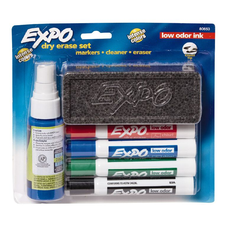 Expo Whiteboard Marker Low Odour Chisel Starter Set Mixed Assortment, , hi-res
