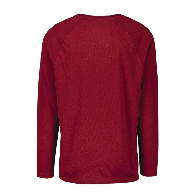 Active Intent Men's Long Sleeve Plain Tee, Red Dark, hi-res