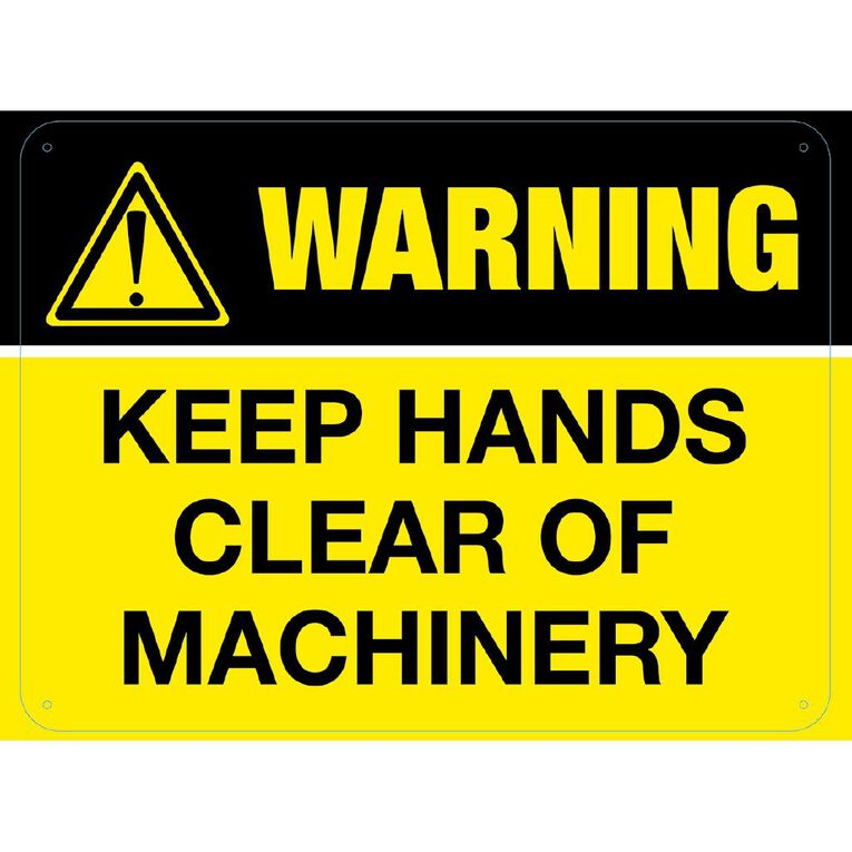WS Warning Keep Hands Clear of Machinery Sign Large 450mm x 600mm, , hi-res
