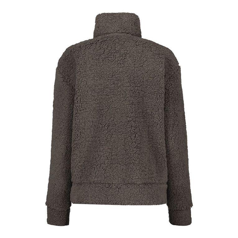 H&H Women's Zip Collar Sherpa Sweatshirt, Grey, hi-res