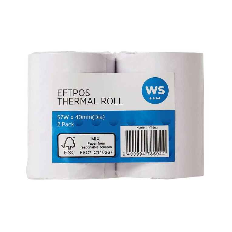 WS Eftpos Roll 57 x 40mm Twin Pack 65gsm, , hi-res