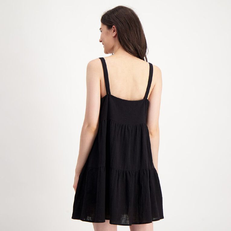 H&H Women's Tiered Mini Dress, Black, hi-res image number null