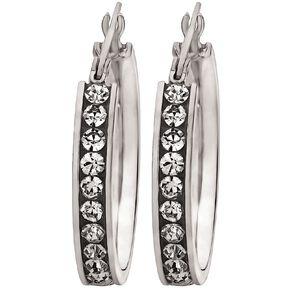 Stainless Steel CZ Channel Set Hoop Earrings