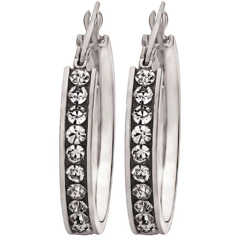 Stainless Steel CZ Channel Set Hoop Earrings, , hi-res