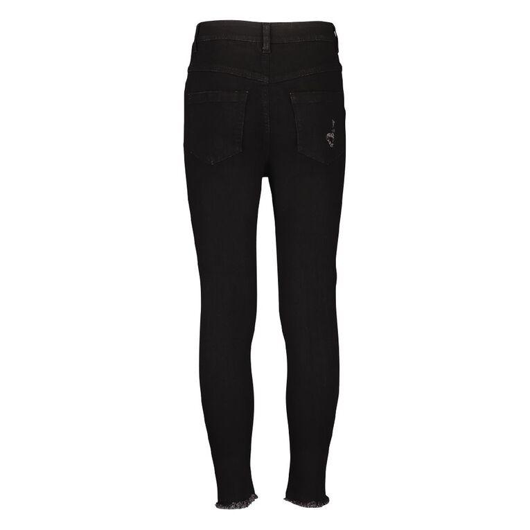 Young Original Girls' HW Distressed Jeans, Black, hi-res