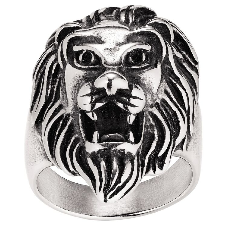 Stainless Steel Men's Lion Ring, Stainless Steel, hi-res