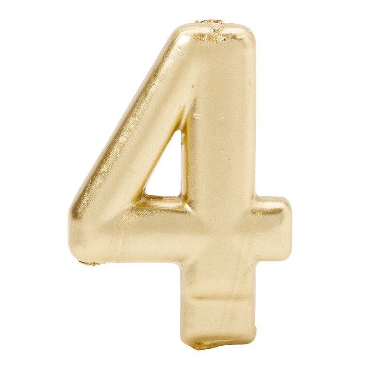 Candle Metallic Numeral #4 Gold, , hi-res