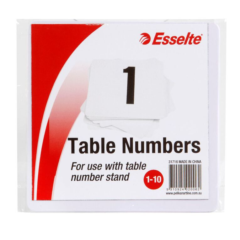 Esselte Table Numbers 1-10 10cm 10 Pack White, , hi-res