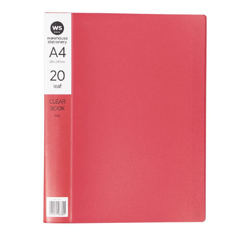 WS Clear Book 20 Leaf Red A4, , hi-res