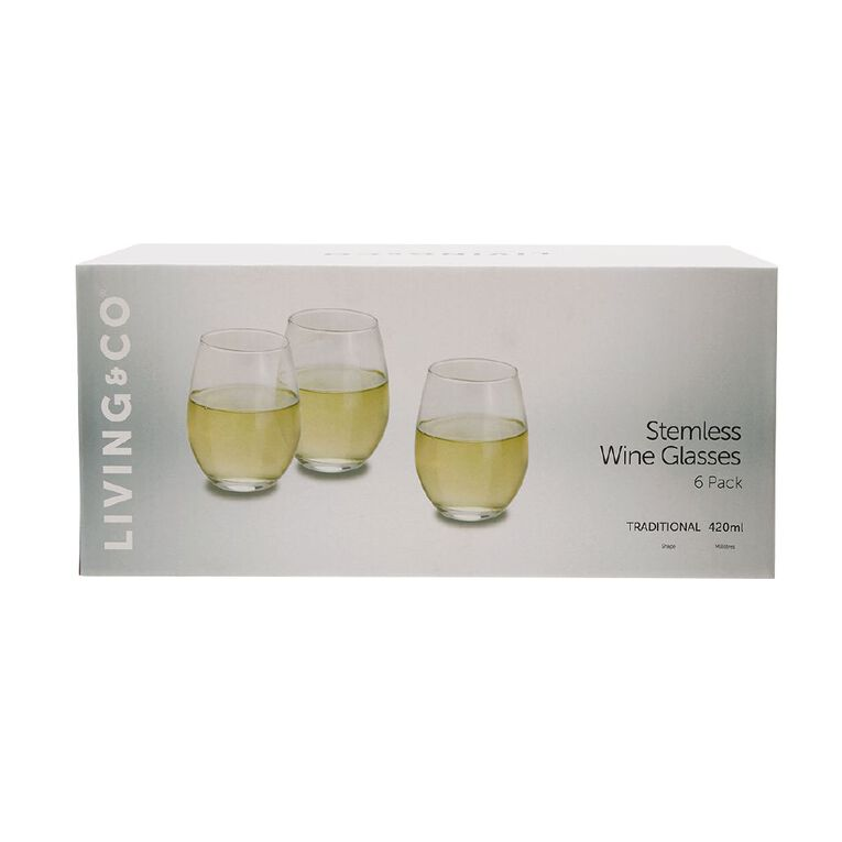 Living & Co Traditional Stemless Wine Glass 6 Pack 480ml, , hi-res