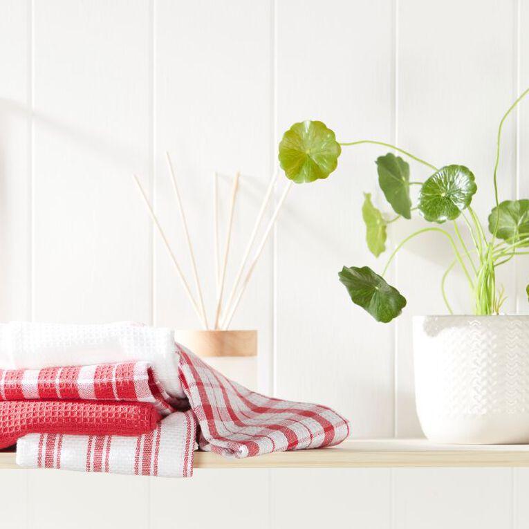 Living & Co Tea Towel Mix Set 5 Pack Red 40cm x 65cm, , hi-res