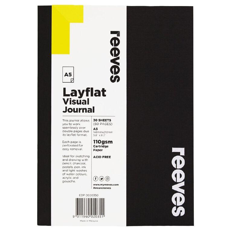 Reeves Visual Journal Layflat Black A5 30 Sheets, , hi-res
