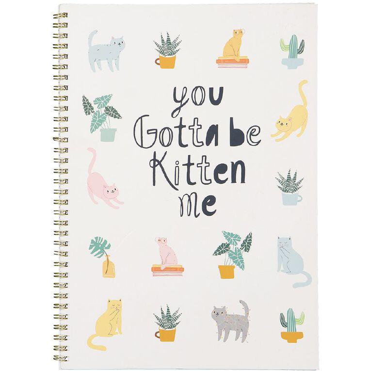 Uniti Fun & Funky Q4 Spiral Notebook You Gotta Be Kitten Me White A4, , hi-res