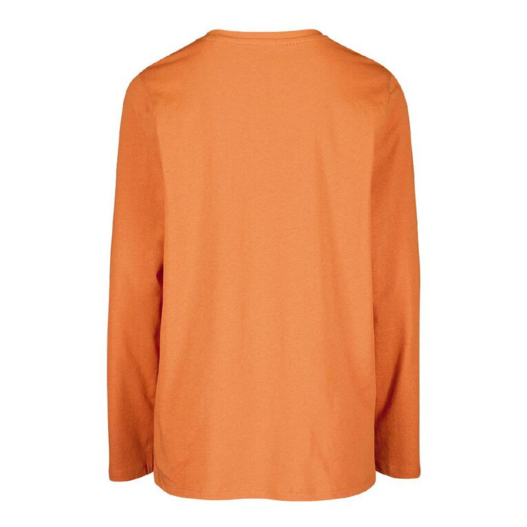 Young Original Long Sleeve Print Tee, Orange, hi-res