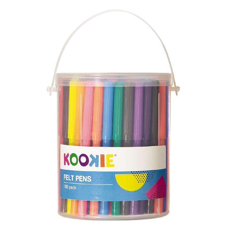Kookie Felt Pens Multi-Coloured 100 Pack, , hi-res