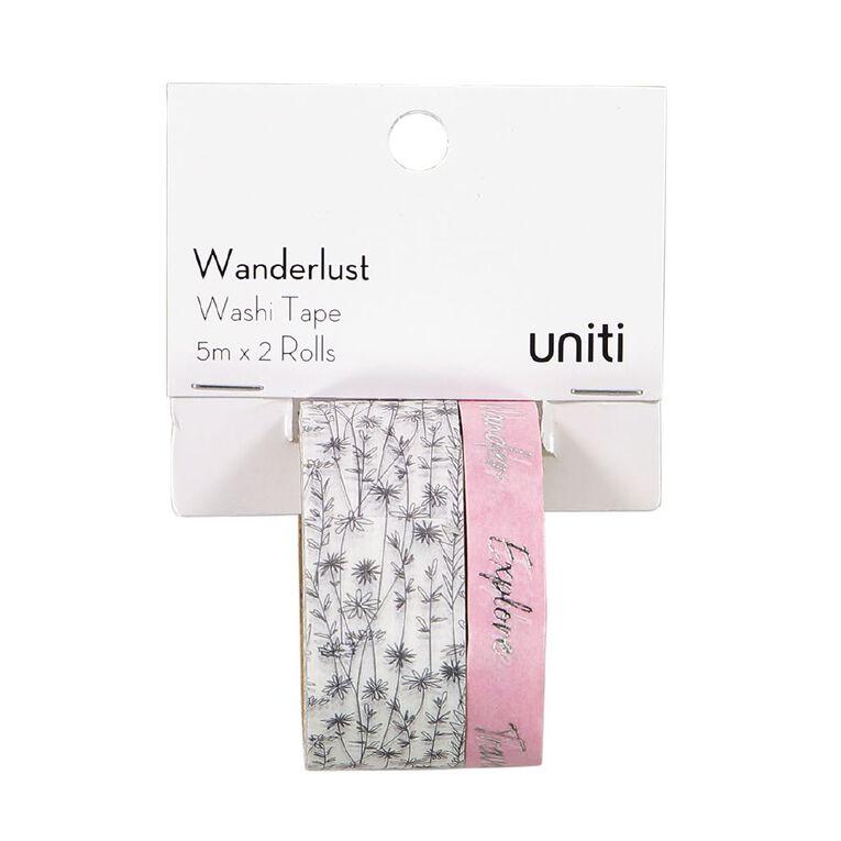Uniti Wanderlust Washi Tape Flowers & Pink With Silver Foil 5m x 2 Rolls, , hi-res