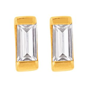 9ct Gold CZ Baguette  Stud Earrings