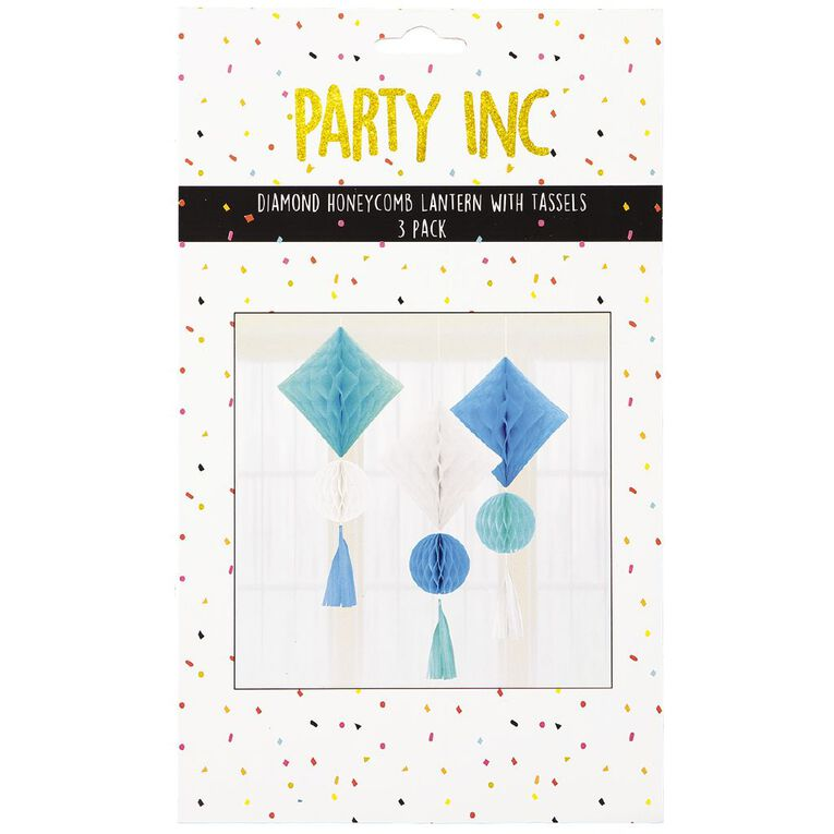 Party Inc Diamond Honeycomb Lantern with Tassels Blue 3 Pack, , hi-res