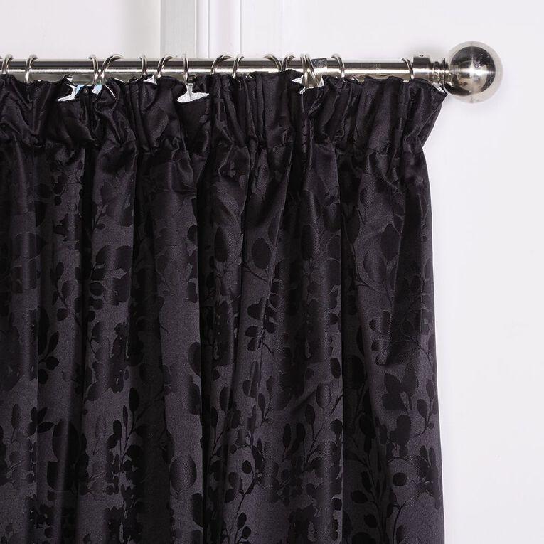 Living & Co Chateau Curtains Black 150-230cm Wide/160cm Drop, Black, hi-res