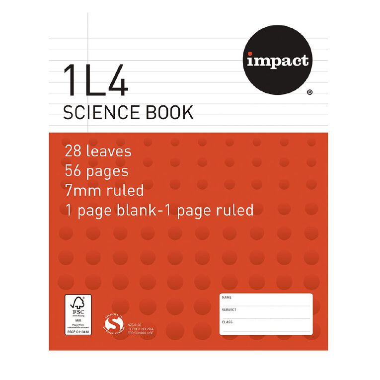 Impact Exercise Book 1L4 7mm Ruled Nature 28 Leaf Red, , hi-res