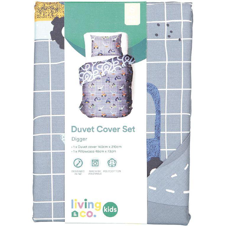 Living & Co Kids Duvet Cover Set Diggers Denim Single, Denim, hi-res
