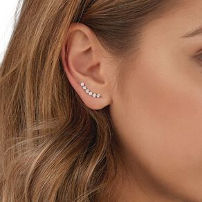 Sterling Silver CZ Climber Earrings