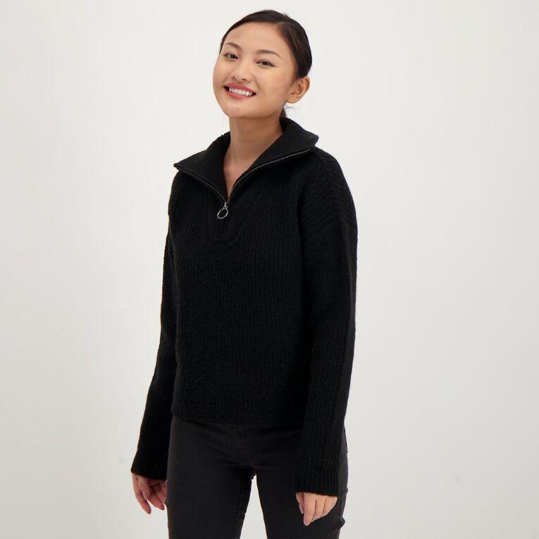 H&H Women's 1/4 Zip Jumper, Black, hi-res