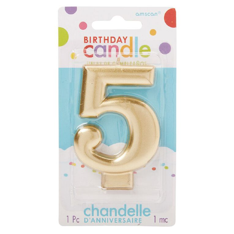 Candle Metallic Numeral #5 Gold, , hi-res
