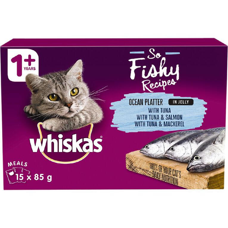 Whiskas Wet Cat Food Ocean Platter In Jelly 15x85g Box, , hi-res