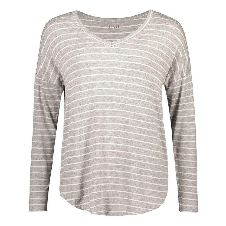 H&H Women's Long Sleeve Tee, White/Silver, hi-res