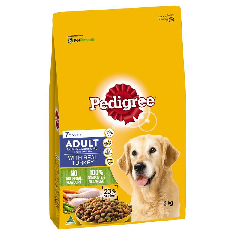 Pedigree Adult 7+ years with real Turkey 3kg, , hi-res