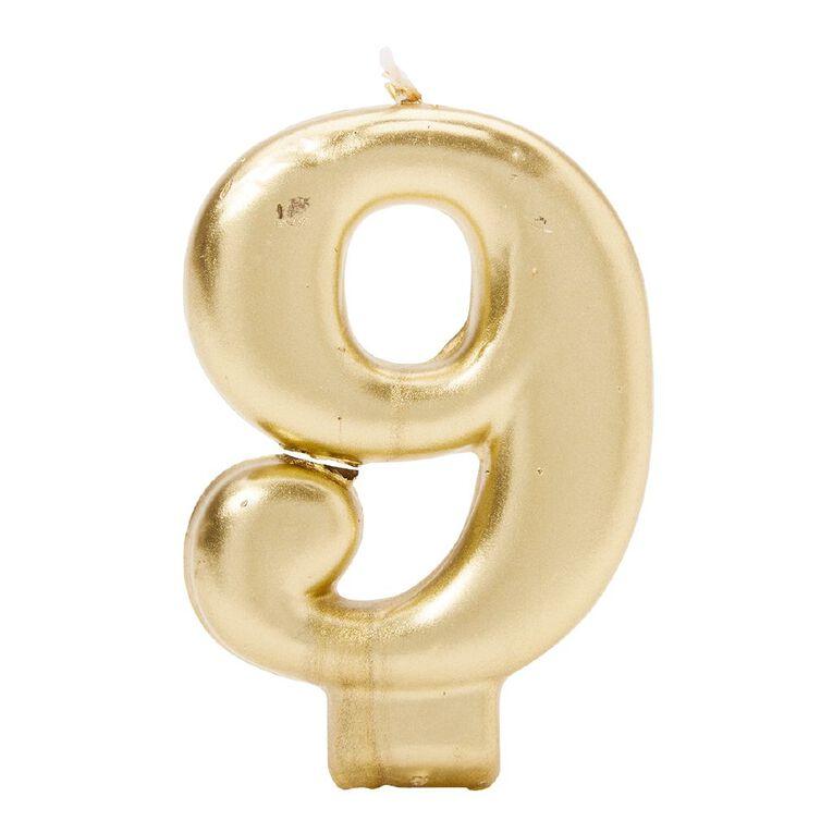 Candle Metallic Numeral #9 Gold, , hi-res