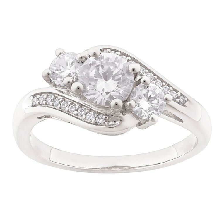 Brilliance Sterling Silver CZ Fancy Swirl Ring, Sterling Silver, hi-res image number null