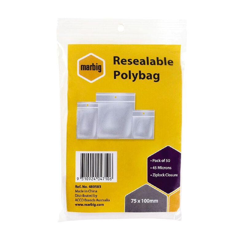Marbig Resealable Polybags 75x100mm 50Pk, , hi-res