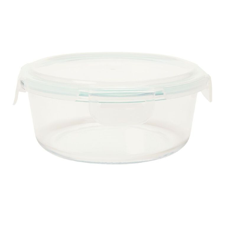Living & Co Glass Container with Clips Round Clear 800ml, , hi-res