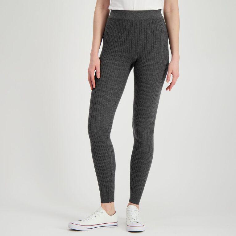 H&H Women's Rib Leggings, Charcoal, hi-res