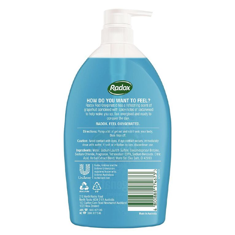 Radox Oxygenated Shower Gel 1L, , hi-res