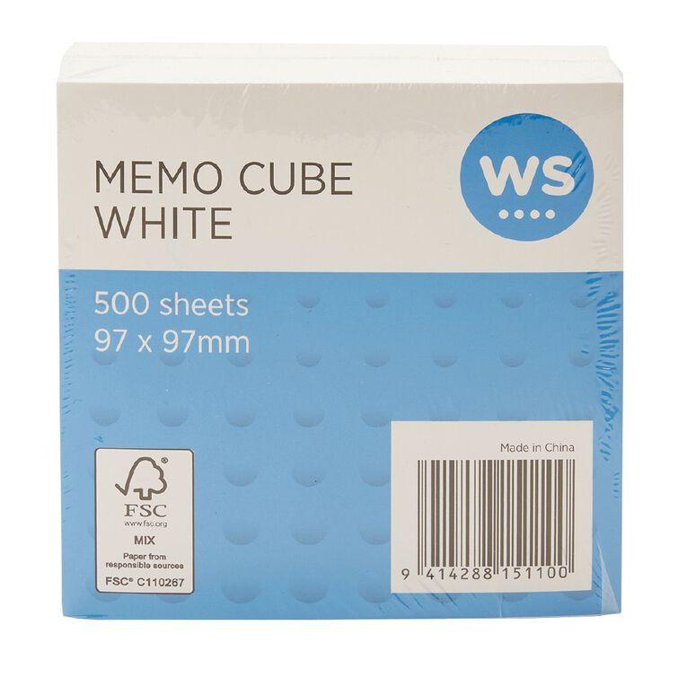 WS Memo Cube Refill Small 97 x 97mm White, , hi-res