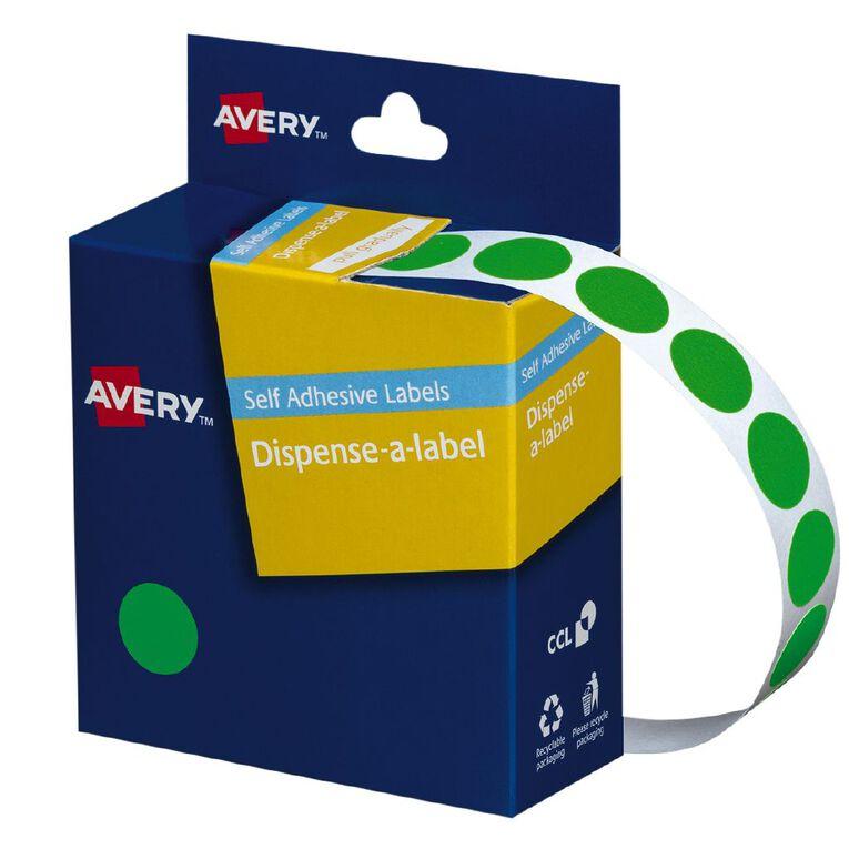 Avery Fluoro Green Dispenser Dot Stickers 14mm diameter 700 Labels, , hi-res