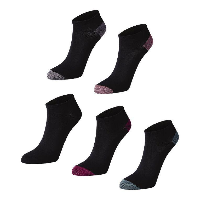 Active Intent Women's No Show Liner Socks 5 Pack, Black, hi-res